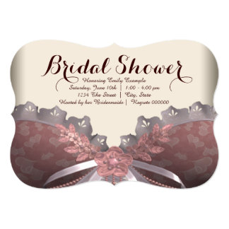 Pink and Brown Corset Bridal Shower 13 Cm X 18 Cm Invitation Card