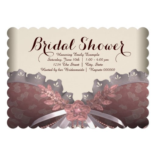 Pink and Brown Corset Bridal Shower Personalized Invite