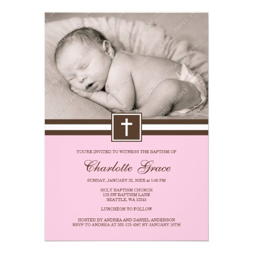 Pink and Brown Cross Girl Photo Baptism Invites