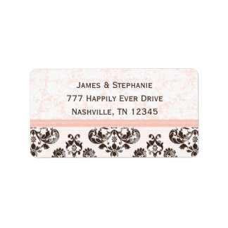 Pink and Brown Damask Address Labels Custom