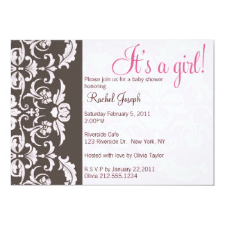 Pink and Brown Damask Baby Girl Shower Invite