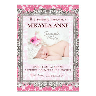 "Pink and Brown Damask Birth Announcement 5"" X 7"" Invitation Card"