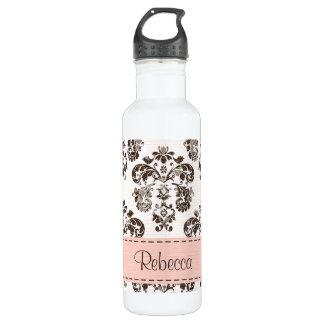 Pink and Brown Damask BPA Free 710 Ml Water Bottle