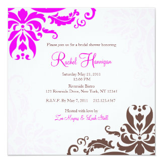 Pink and Brown Damask Bridal Shower Invitation