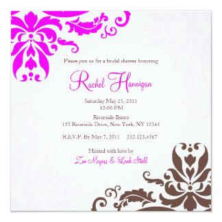 Pink and Brown Damask Bridal Shower Invitation