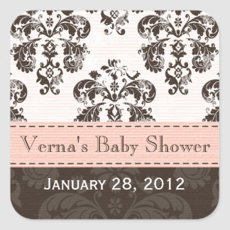 Pink and Brown Damask Favor Labels Stickers