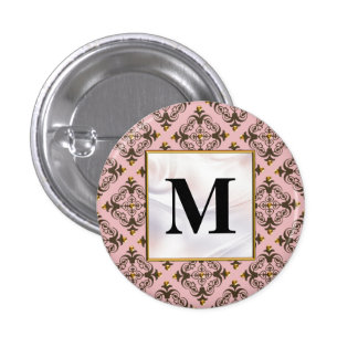 Pink and Brown Damask Monogram Pinback Buttons