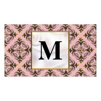 Pink and Brown Damask Monogram Business Card Templates