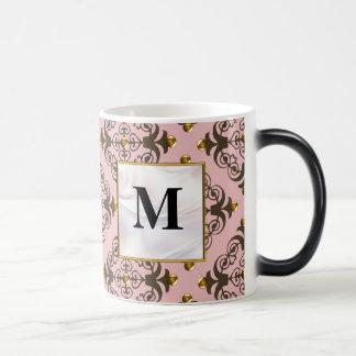 Pink and Brown Damask Monogram Mug