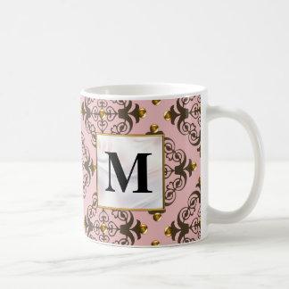 Pink and Brown Damask Monogram Coffee Mugs