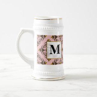 Pink and Brown Damask Monogram Coffee Mug