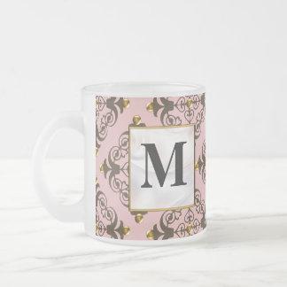 Pink and Brown Damask Monogram Mugs