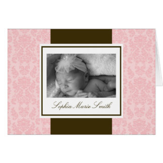 Pink and Brown Damask Note Card
