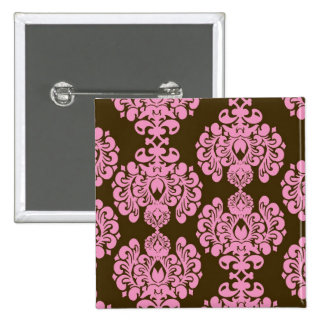 Pink and Brown Damask Pattern Gifts Button