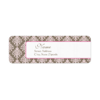 Pink and Brown Damask Return Address Label