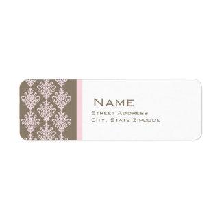 Pink and Brown Damask Return Address Label