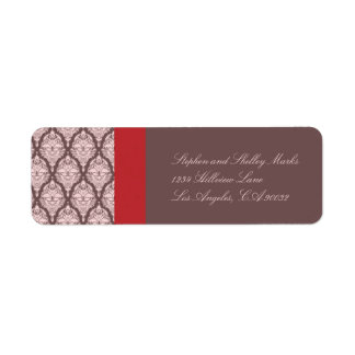 Pink and Brown Damask Wedding label Return Address Label