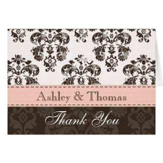 Pink and Brown Damask Wedding Thank You Note Cards