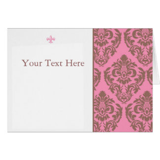 Pink and Brown Damask with Fluer Note Card