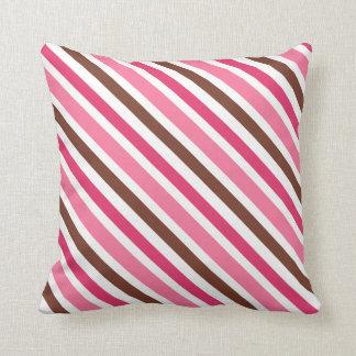 Pink and brown diagonal stripes custom pillow