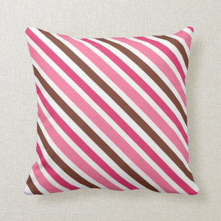 Pink and brown diagonal stripes custom pillow