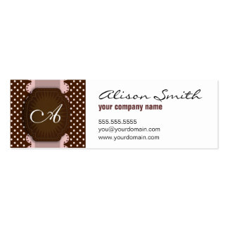 Pink and Brown dotted monogram Business Card Templates