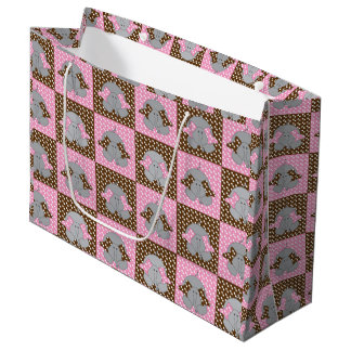 Pink and Brown Elephant Polka Dots Large Gift Bag