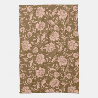 Pink and Brown Floral Pattern Tea Towel