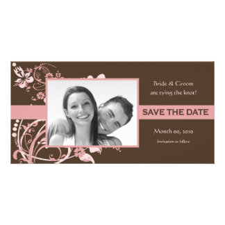 Pink and Brown Floral Save the Date Photo Cards