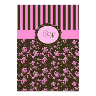 Pink and Brown Floral Stripe Monogram Invitation