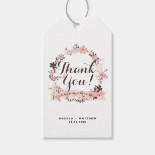 Pink and Brown Floral Wreath Wedding Thank You Gift Tags