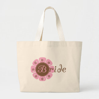Pink and Brown Flower Bride Tshirts and Gifts Large Tote Bag