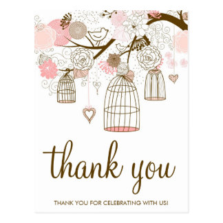 Pink and Brown Flowers & Birdcages Thank You Card Postcard