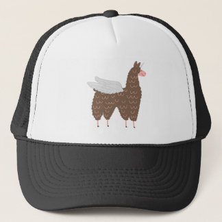 Pink and Brown Flying Llamacorn Trucker Hat