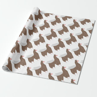 Pink and Brown Flying Llamacorn Wrapping Paper