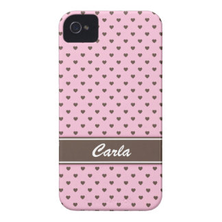 Pink and brown heart polka dots iPhone 4 case