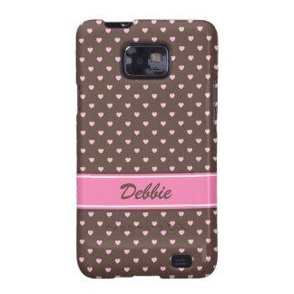 Pink and brown heart polka dots Samsung case Samsung Galaxy Cover