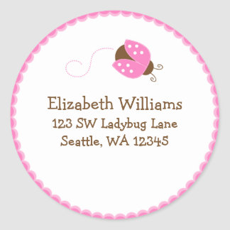 Pink and Brown Ladybug Round Address Sticker Label