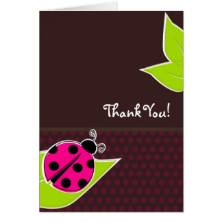 Pink and Brown Ladybug Thank You Cards