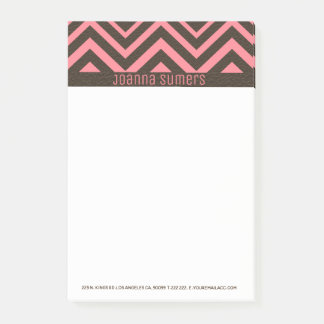 Pink And Brown Leather Chevron Post-it Notes