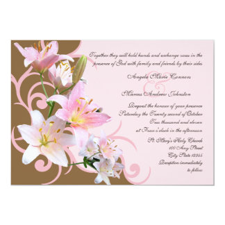 Pink and Brown Lily Wedding Card