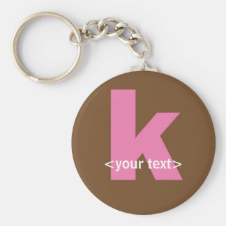 Pink and Brown Monogram - Letter K Keychains