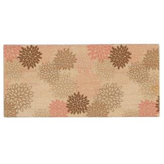 Pink And Brown Mum Pattern Wood USB 2.0 Flash Drive