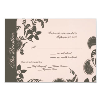 Pink and Brown Paisley and Floral 9 Cm X 13 Cm Invitation Card