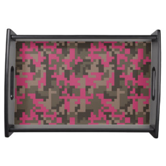 Pink and Brown Pixel Camo pattern Serving Tray