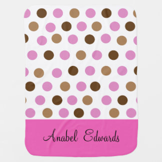 Pink and Brown Polka Dot Baby Blanket