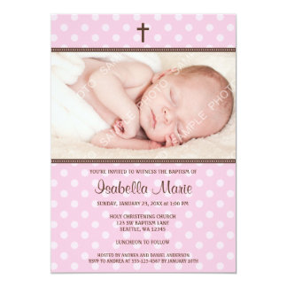 Pink and Brown Polka Dot Cross Girl Photo Baptism Card