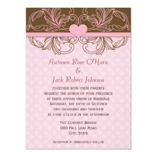 Pink and Brown Polka Dot Floral Wedding 17 Cm X 22 Cm Invitation Card