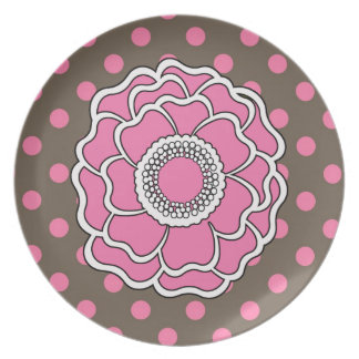 Pink and Brown Polka Dot Flower Dinner Plates