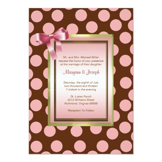 Pink and Brown Polka Dot Invitation Template